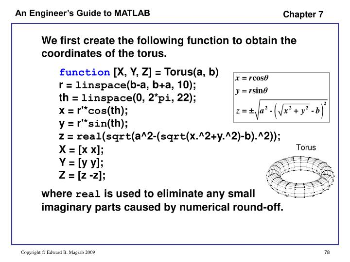 We first create the following function to obtain the coordinates of the torus.