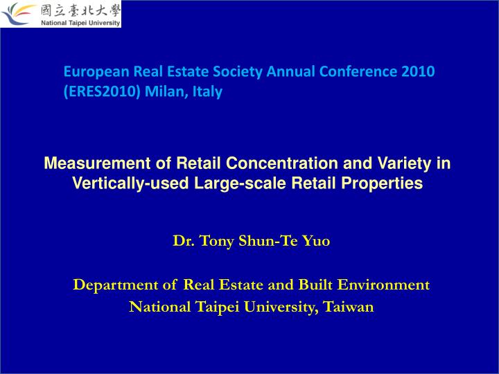 measurement of retail concentration and variety in vertically used large scale retail properties n.