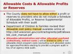 allowable costs allowable profits or reserves1