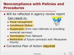 noncompliance with policies and procedures