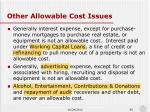 other allowable cost issues