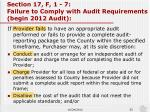 section 17 f 1 7 failure to comply with audit requirements begin 2012 audit