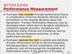 section eleven performance measurement