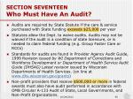 section seventeen who must have an audit