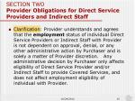 section two provider obligations for direct service providers and indirect staff