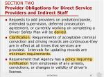 section two provider obligations for direct service providers and indirect staff2
