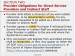 section two provider obligations for direct service providers and indirect staff3