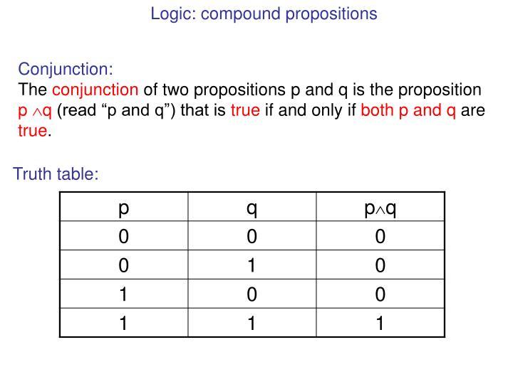 Logic: compound propositions