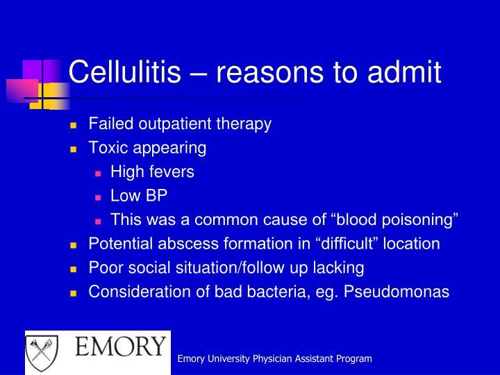 Cellulitis – reasons to admit