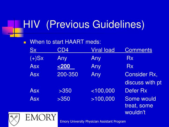 HIV  (Previous Guidelines)