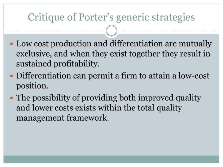 Critique of Porter's generic strategies