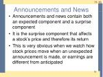 announcements and news