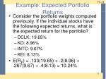 example expected portfolio returns
