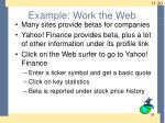 example work the web