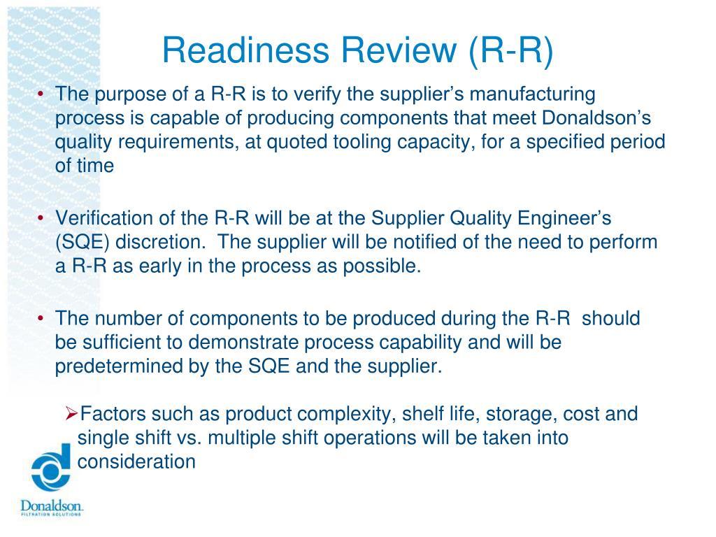 PPT - Donaldson EMEA Supplier Quality Assurance PowerPoint