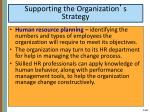 supporting the organization s strategy