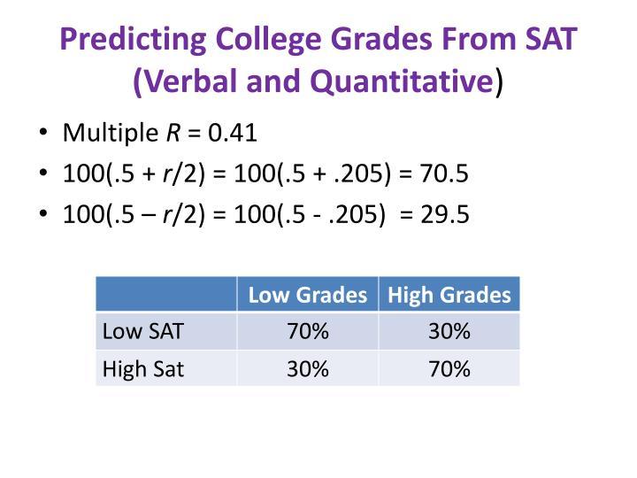 Predicting College Grades From SAT (Verbal and Quantitative