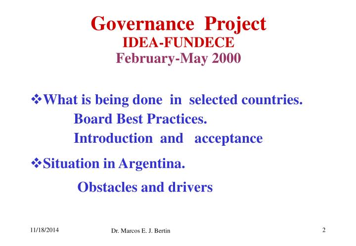 Governance project idea fundece february may 2000