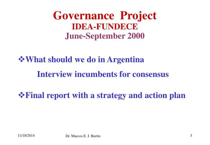 Governance project idea fundece june september 2000