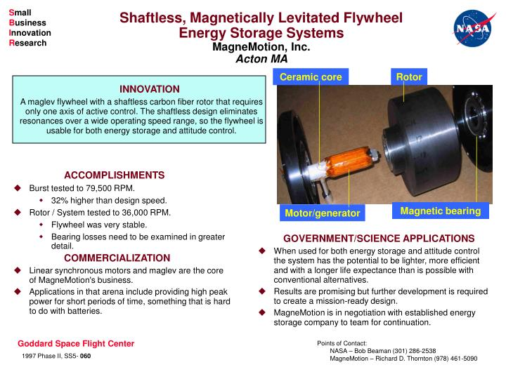 PPT - Shaftless, Magnetically Levitated Flywheel Energy