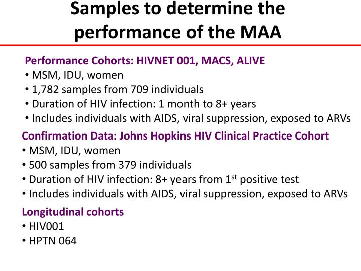 Samples to determine the performance of the MAA