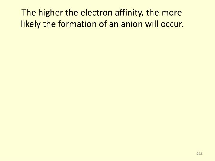 The higher the electron affinity, the more likely the formation of an anion will occur.