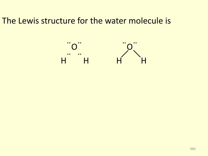 The Lewis structure for the water molecule is