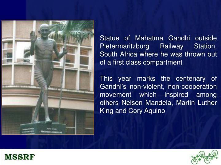 Statue of Mahatma Gandhi outside Pietermaritzburg Railway Station, South Africa where he was thrown ...