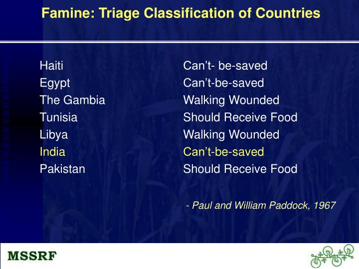 Famine: Triage Classification of Countries