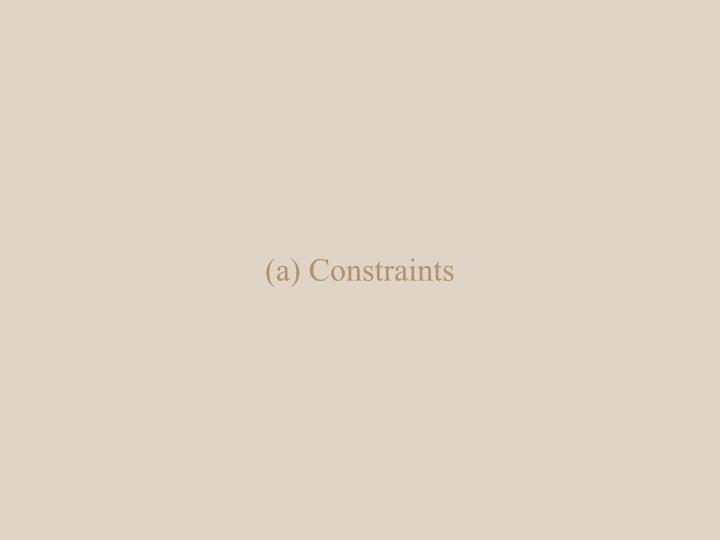 (a) Constraints