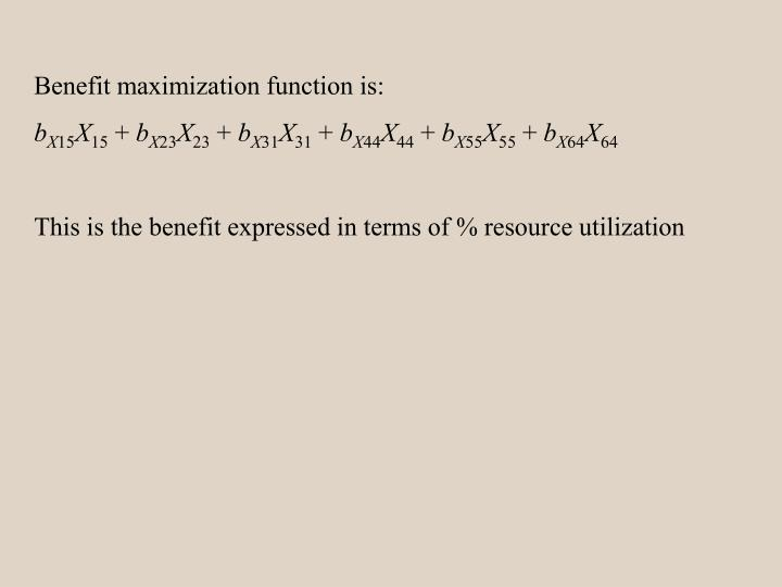Benefit maximization function is:
