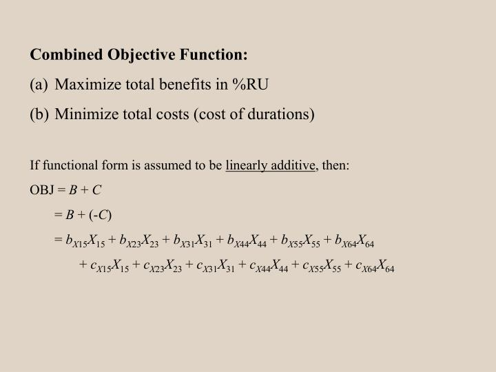 Combined Objective Function: