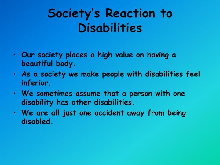 Society's Reaction to Disabilities