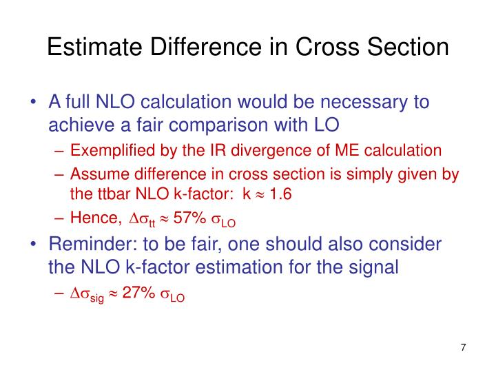 Estimate Difference in Cross Section