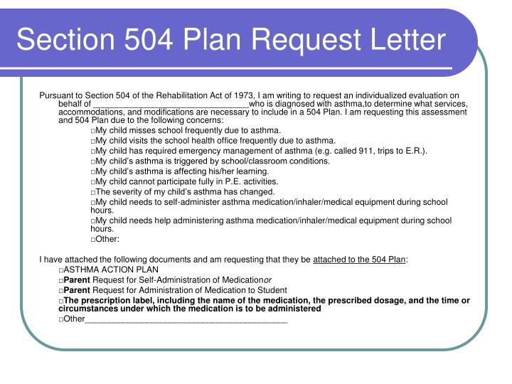 Section 504 Plan Request Letter