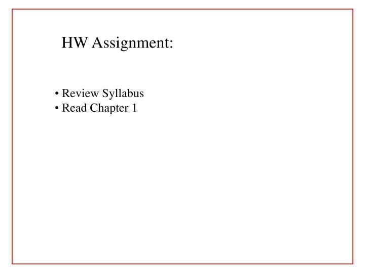 HW Assignment:
