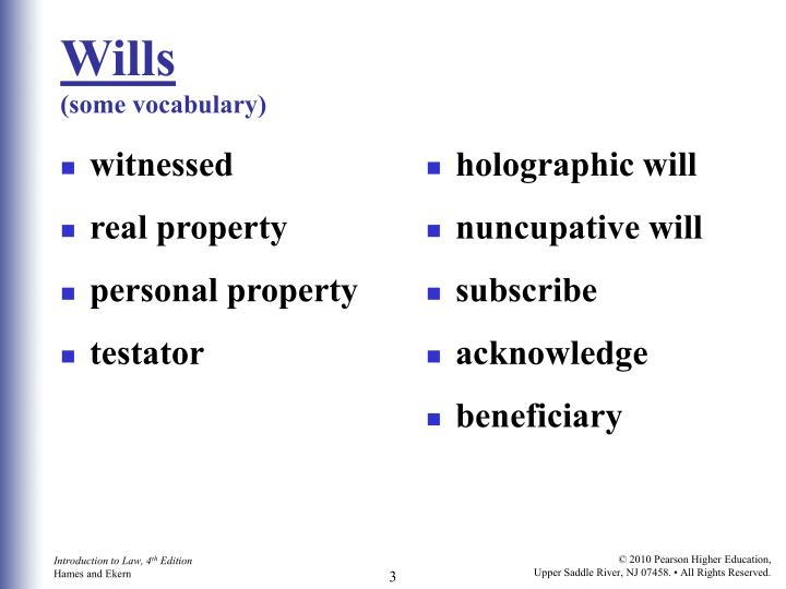 Wills some vocabulary
