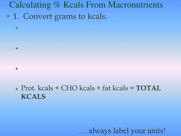 Calculating % Kcals From Macronutrients