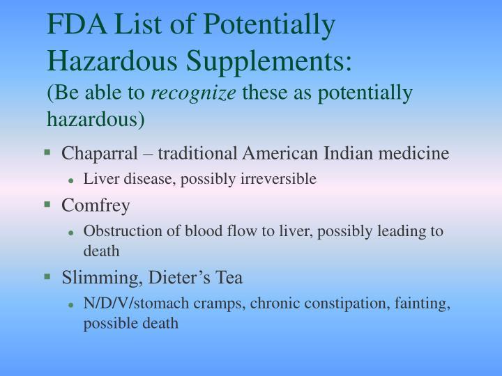 FDA List of Potentially Hazardous Supplements: