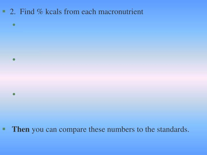 2.  Find % kcals from each macronutrient