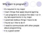 why learn to program