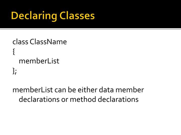 Declaring Classes