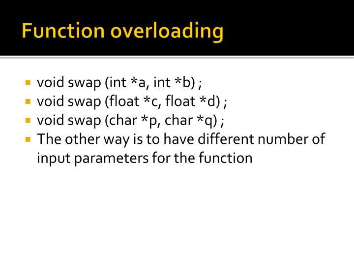 Function overloading