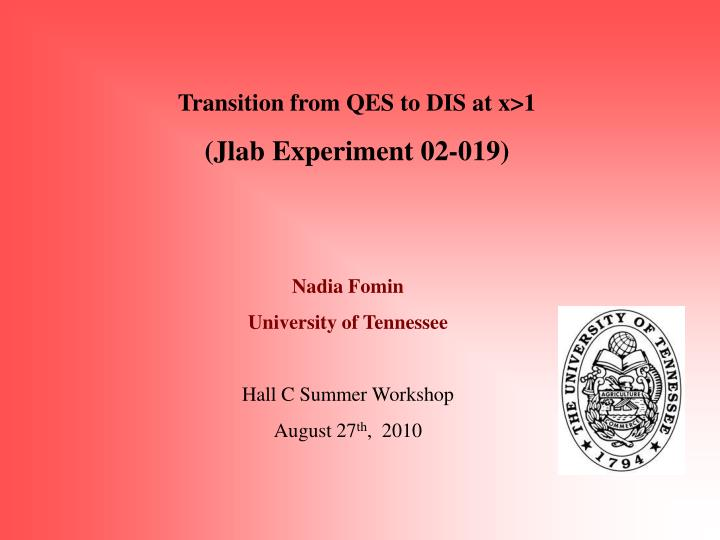 Transition from QES to DIS at x>1