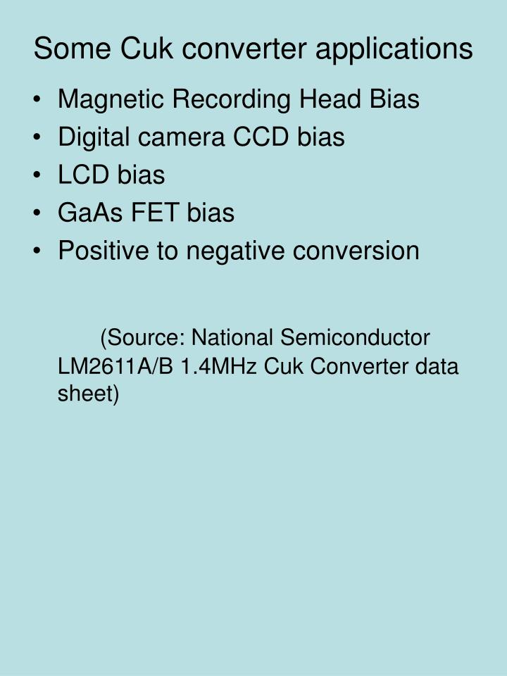 Some Cuk converter applications