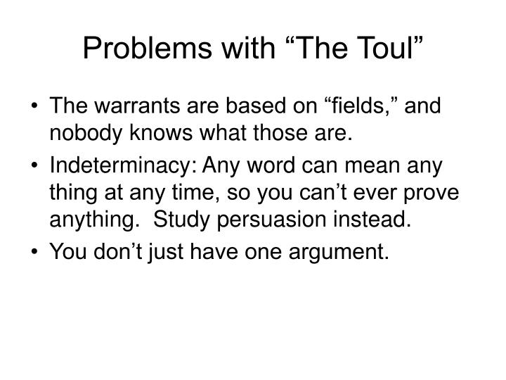 """Problems with """"The Toul"""""""