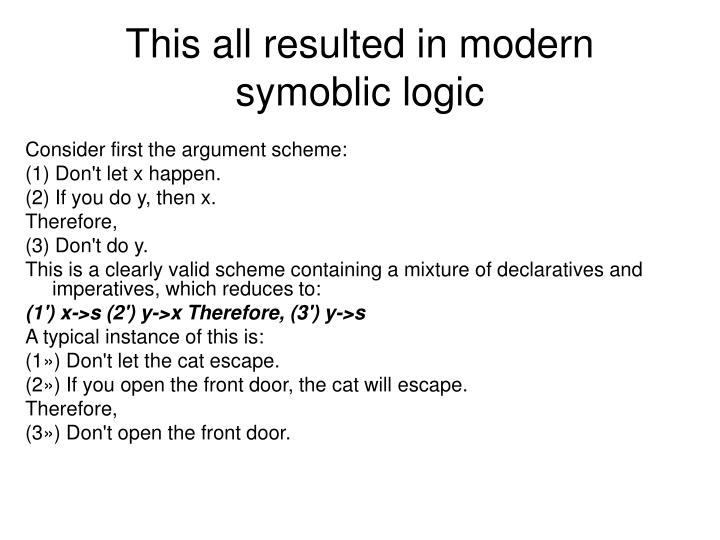 This all resulted in modern symoblic logic