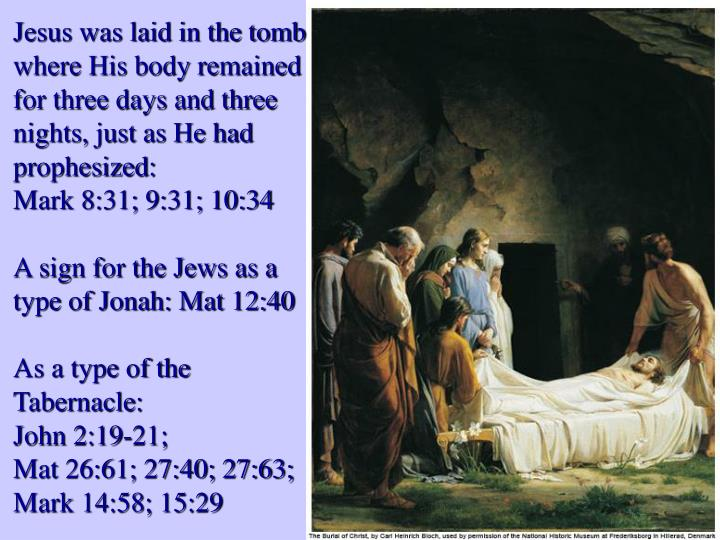 Jesus was laid in the tomb where His body remained for three days and three nights, just as He had prophesized: