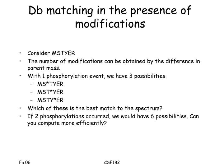 Db matching in the presence of modifications