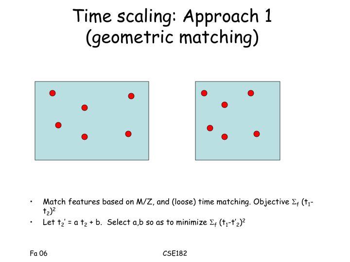 Time scaling: Approach 1 (geometric matching)